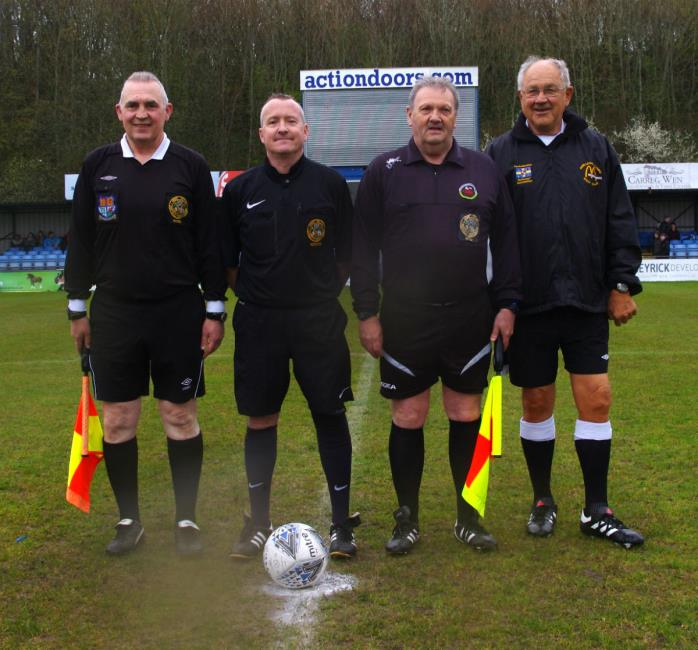 Match officials Paul Rooney, Angus Scourfield, Chris Stapleton and Paul Jackson