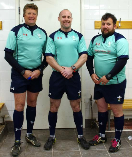 Match officials Dewi Phillips, Jason Ludgate and Jonathan Harries