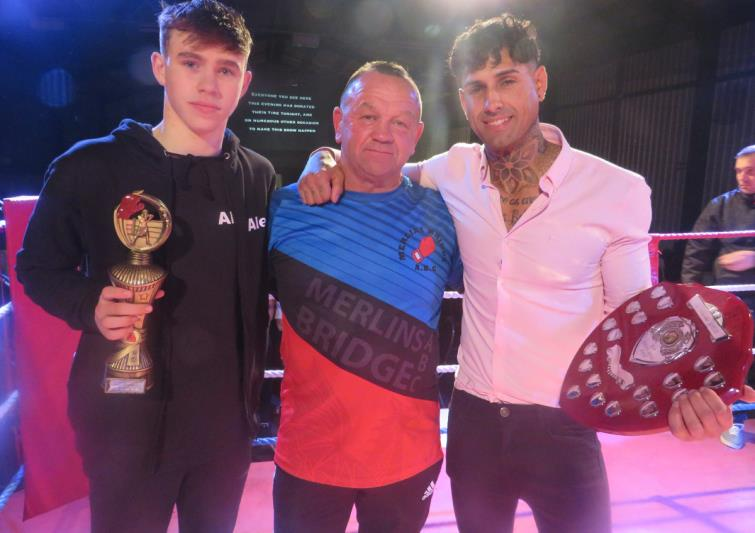 Boxers of the night Alex O Sullivan and Ed Wollard with coach Graham Brockway