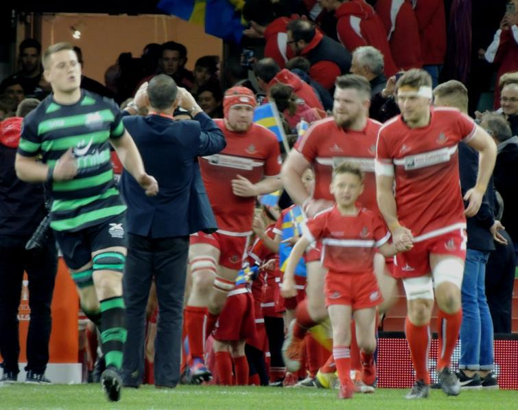 Scott Powell leads Pembroke out onto the Principality Stadium in the WRU Bowl Final
