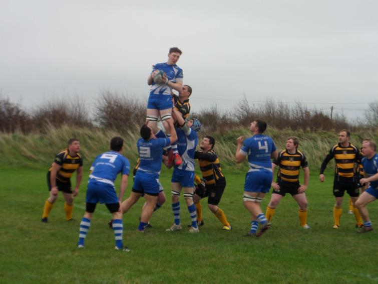 Liam Brown wins good lineout ball for Haverfordwest at St Davids