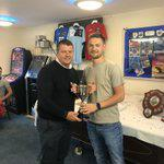 Pembs receiving one of his Player of the Season awards from manager Wayne Jones