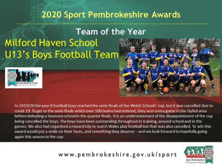 Team of the Year - Milford School Boys Football