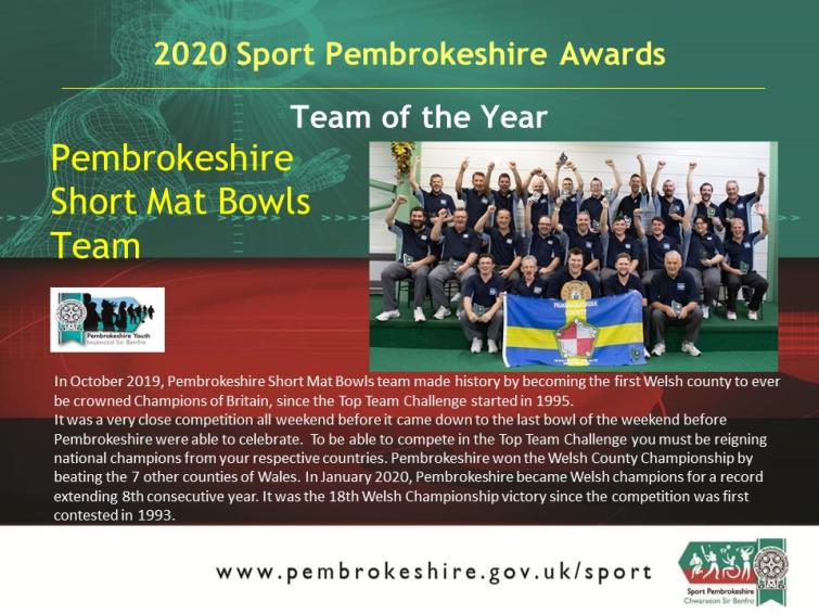 Team of the Year - Pembrokeshire Short Mat Bowls Team