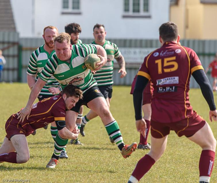 Whitland prop Aaron Mayne on the charge