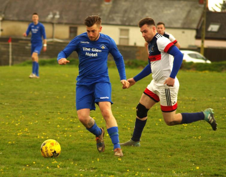Luke Hayward in action for Merlins Bridge against Lamphey