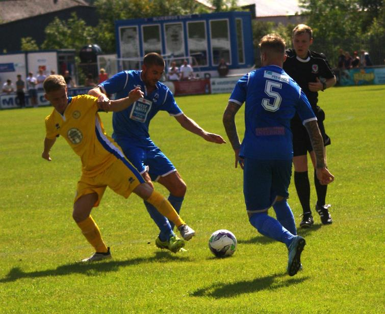 Nicky Palmer contests strongly for possession