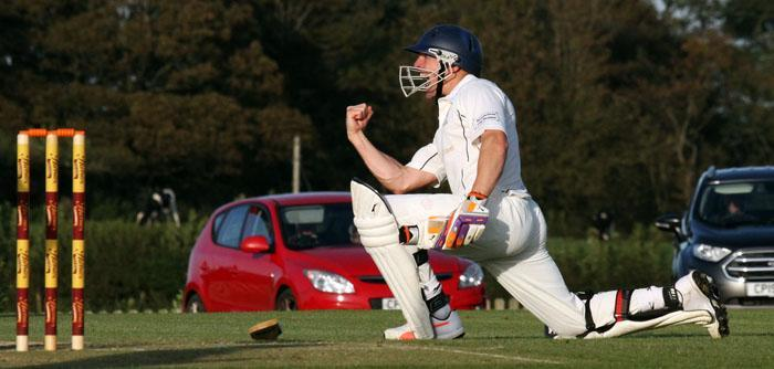 Dai Davies celebrates hitting the winning runs for Haverfordwest