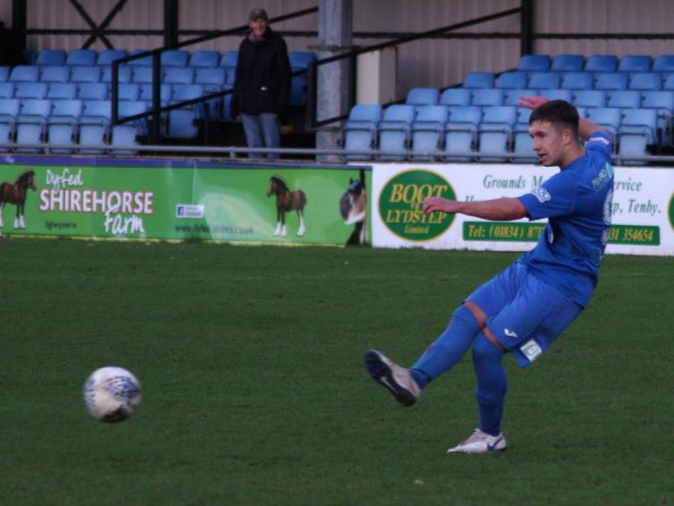 Ben Fawcett scored a brace for Haverfordwest County