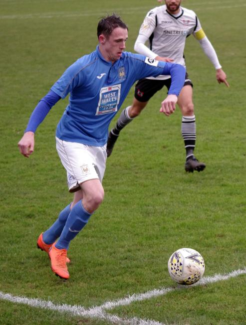 Haverfordwest County goal hero Jack Wilson in action