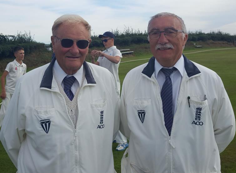 Umpires John Williams and Denis Chiffi