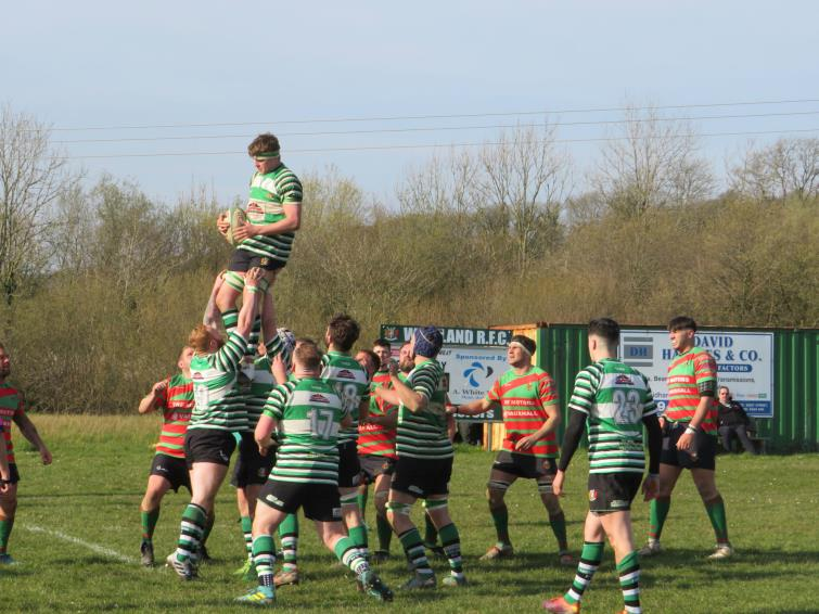 James Thomas takes clean lineout ball which led to a forward drive and try for Marc Jones
