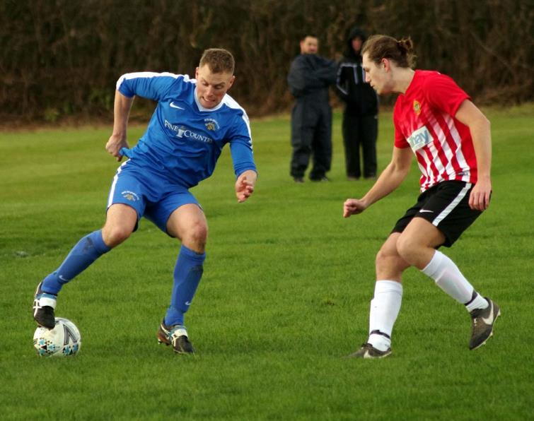 Dai Davies scored for Merlins Bridge in their comfortable win against Saundersfoot Sports