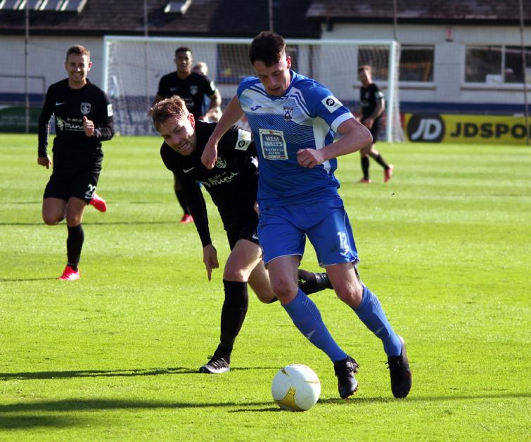 Jack Wilson had a lively game for Haverfordwest County