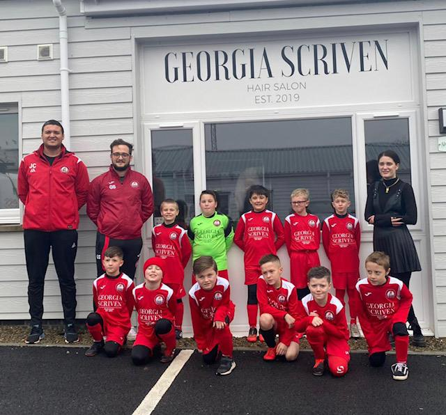 Milford United Under 8s wearing new kit
