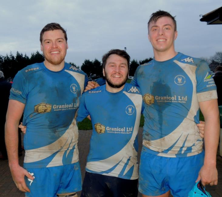 Try scorers Adam Clark, Rhys Baker and Kyle Williams