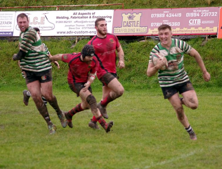 Alex Codd scores the opening try for Whitland