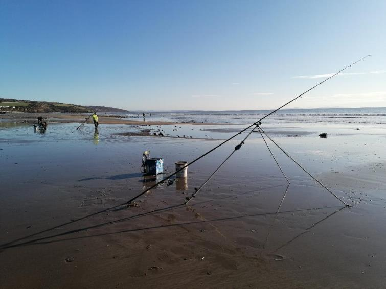 Anglers set up along the beautiful Amroth beach