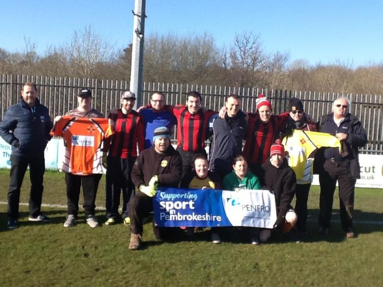 Cleddau Warriors Football Club in their new kit prior to the West Wales disability football league