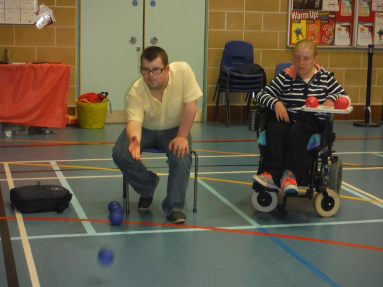 Dewi and Sian pictured in boccia action
