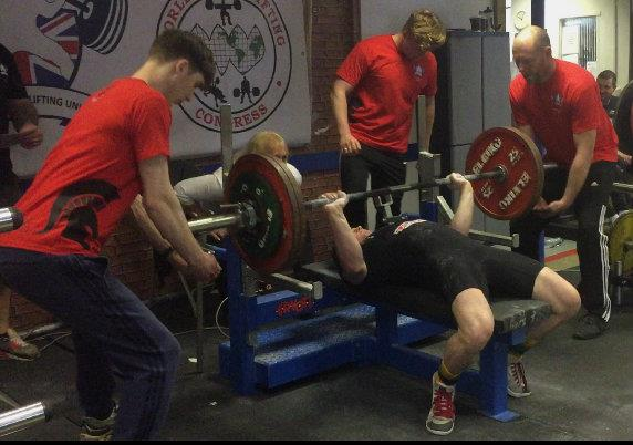 Callum Lowe - lifting a best ever lift in the bench press