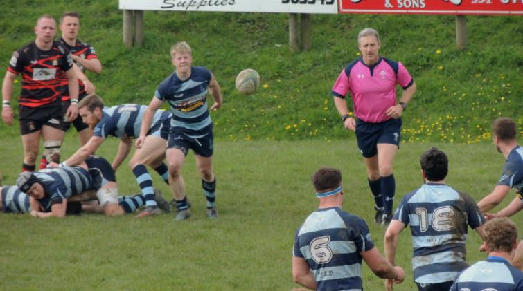 Rhys Lane gets his backs in action