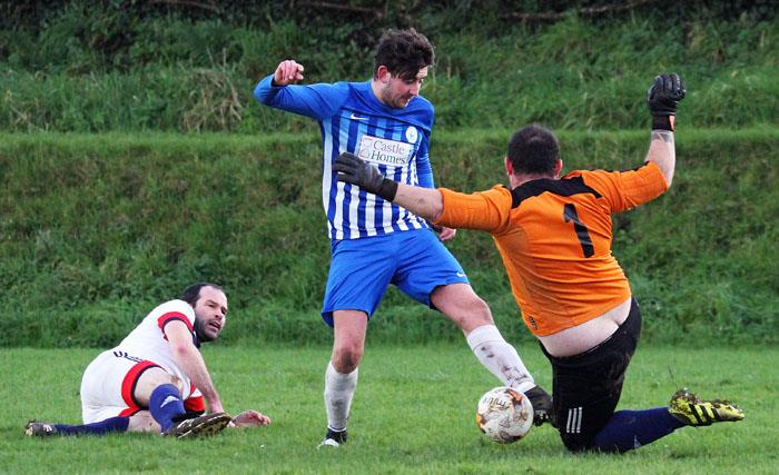 Narberths Dafydd Wright is denied by Lamphey goalkeeper. Picture by Susan McKehon