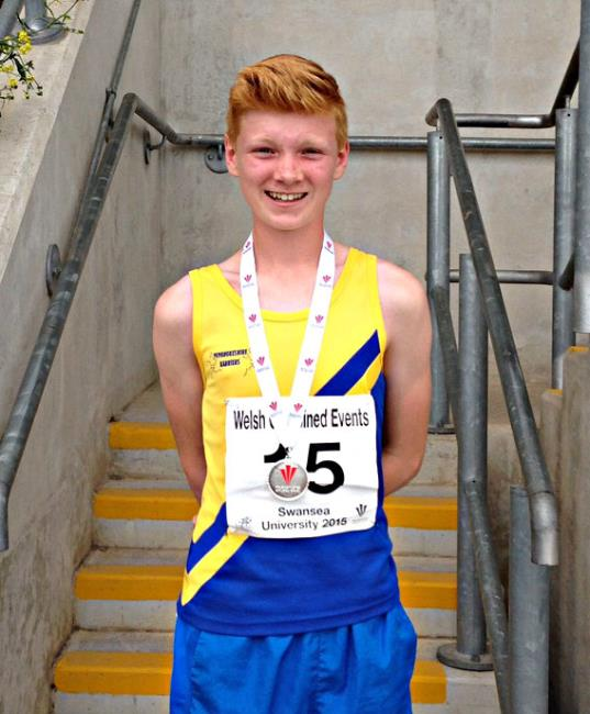 Dylan Phillips competes for the Pembrokeshire Harriers