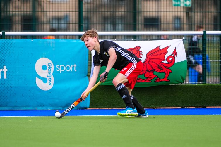 Euan Dyer in action for Wales Under 16s against Scotland at Easter 2018