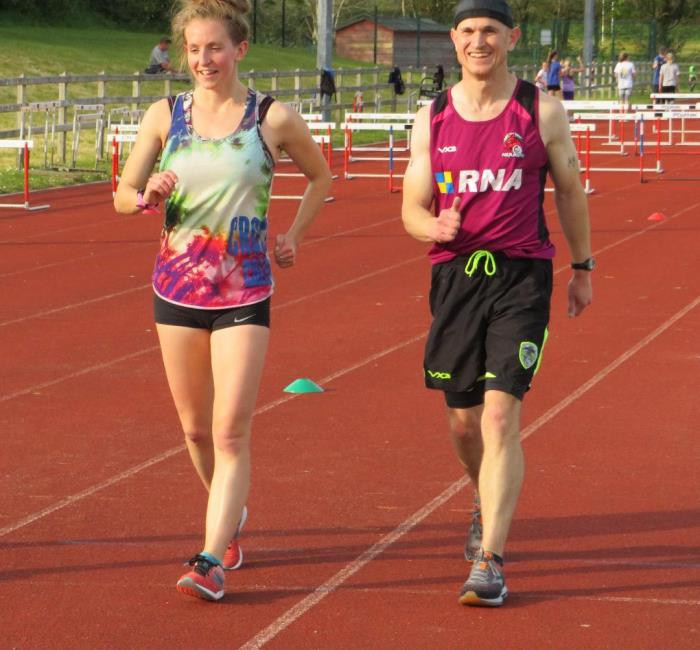 Heather Lewis putting Fraser Watson through his paces