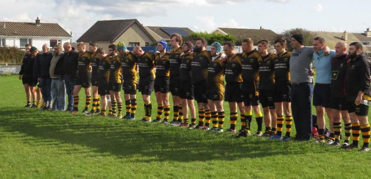 Minutes silence for Johnny James by Llangwm RFC