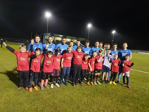 Haverfordwest County pictured with youngsters