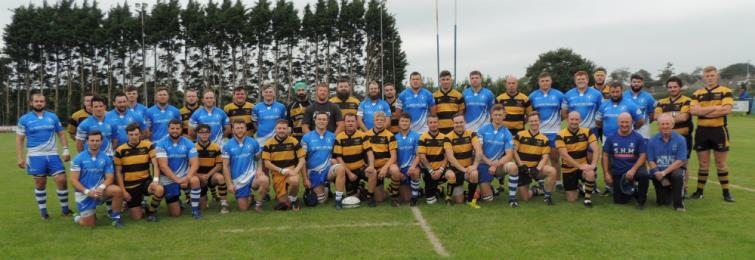 Haverfordwest RFC and Llangwm RFC line-up before the game
