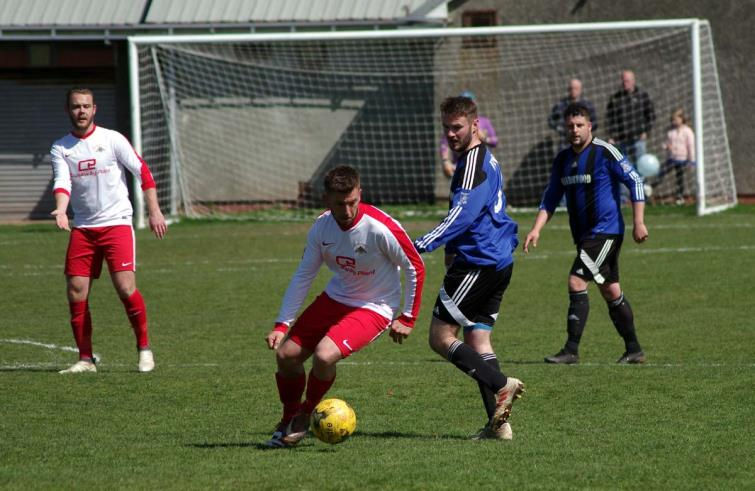 Action from the Obs where Merlins Bridge won 3-2 against Hakin United to secure the runners up spot in the First Division in the last game of the season