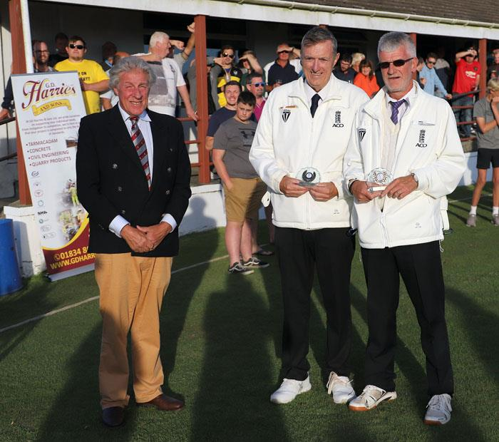Umpires with Hugh Harrison-Allen