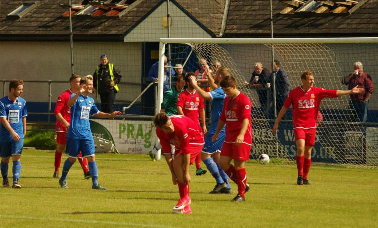 Charlie Young celebrates scoring his first senior goal for The Bluebirds