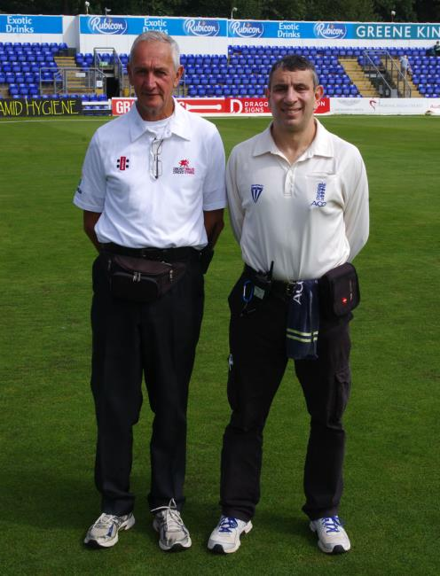 Welsh Cup Final umpires Rob Miles and Simon Green