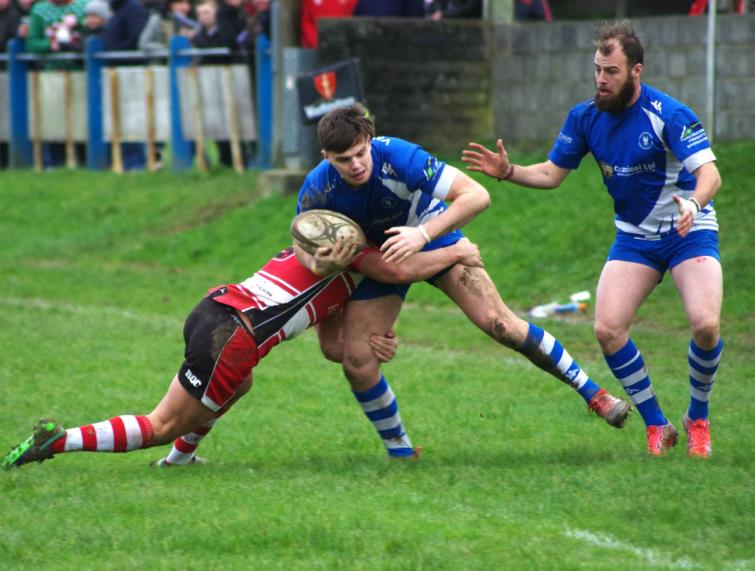 Liam Manwaring in action for the Blues against Milford Haven