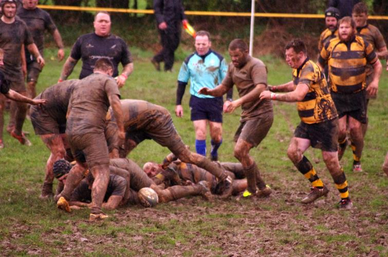 Llangwm and Neyland battle in the mud at Pill Parks