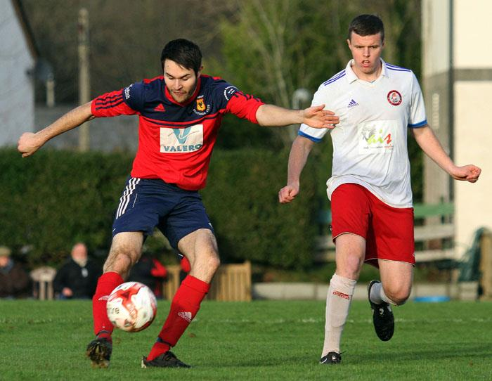 James Hinchliffe scores for Carew against Milford United