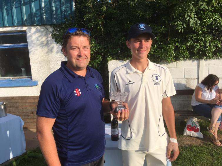 Huw Simkins with man of match William Phillips