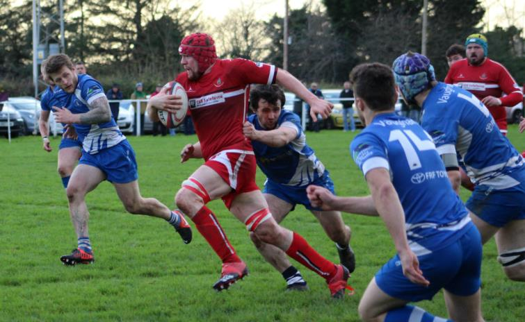 Pembroke  forwards goes on the charge at Crickmarren