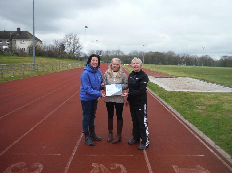 Rhian Homer and Liz Rowlands from the Pembrokeshire Harriers with Angela Miles