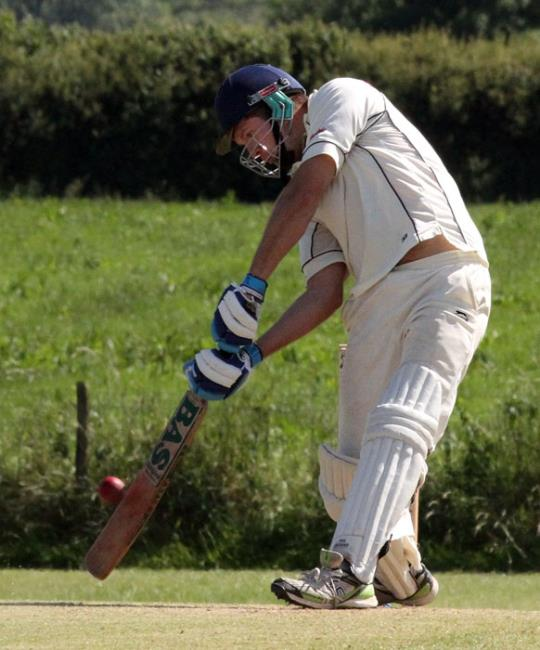 Jack Scriven hits a boundary for Haverfordwest