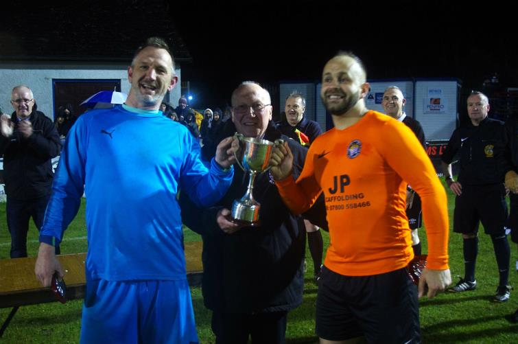 Steve Allen and Jim Payne receive cup from Keith Scourfield