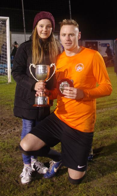 Tigers goal scorer Joe John with daughter Alexis