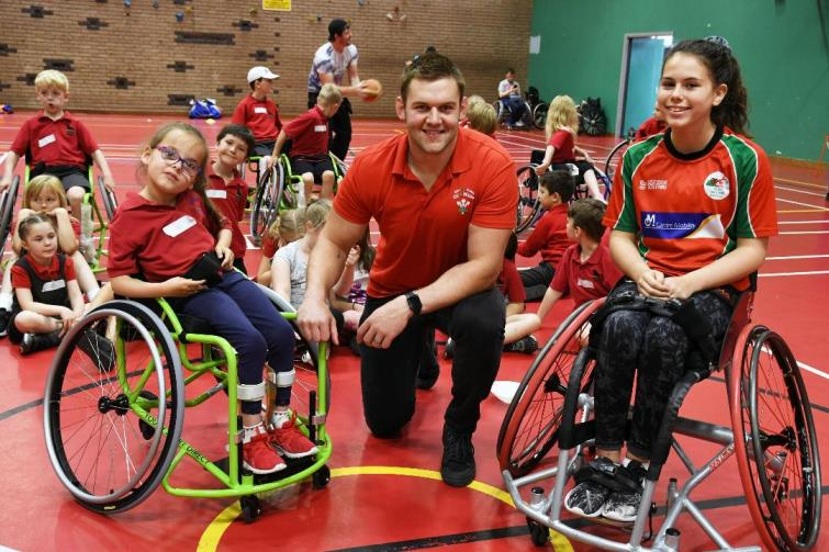 Libi with Frankie and Dan Lydiate at the recent insport series event at Pembroke Leisure Centre