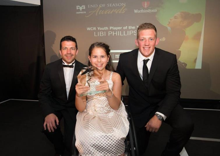Libi has won the Ospreys Youth Wheelchair Rugby Player of the Year award