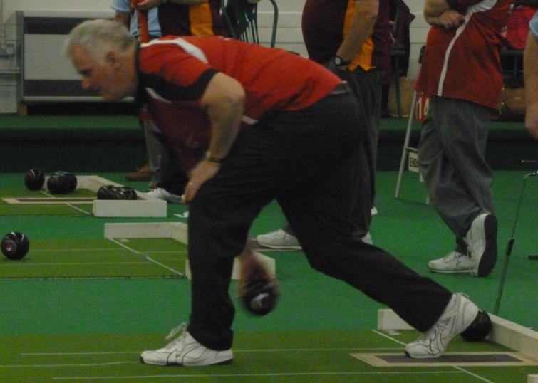 Veteran bowler Martin Davies shows he can still bowl a mean wood