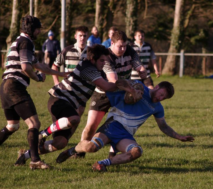 Matty Phillips crashes over for a try for Haverfordwest